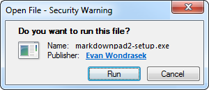 Chrome Step 2: Open the MarkdownPad installer.